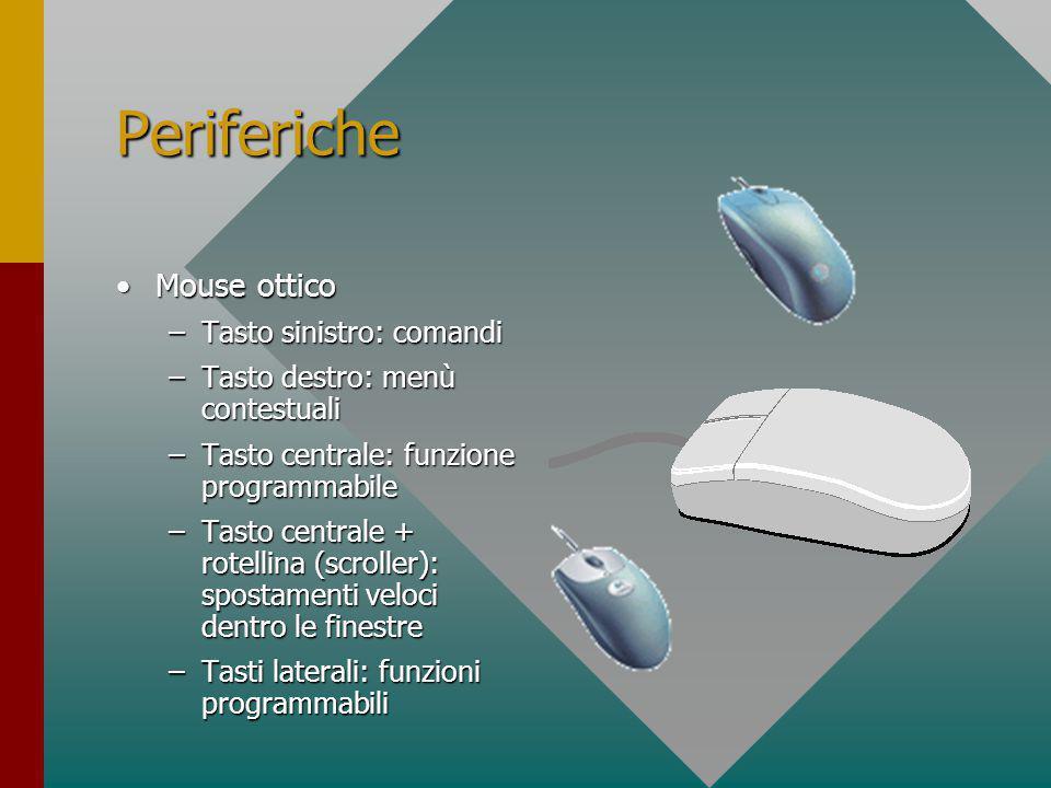 Periferiche Mouse opto-meccanicoMouse opto-meccanico –Tasto sinistro: comandi –Tasto destro: menù contestuali –Tasto centrale: funzione programmabile –Tasto centrale + rotellina (scroller): spostamenti veloci dentro le finestre –Tasti laterali: funzioni programmabili PS2 - USB
