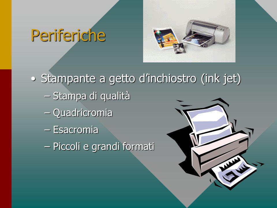 Periferiche Stampante laserStampante laser –Stampa quasi tipografica –Alta risoluzione di stampa –B/N o colore –Piccoli e grandi formati