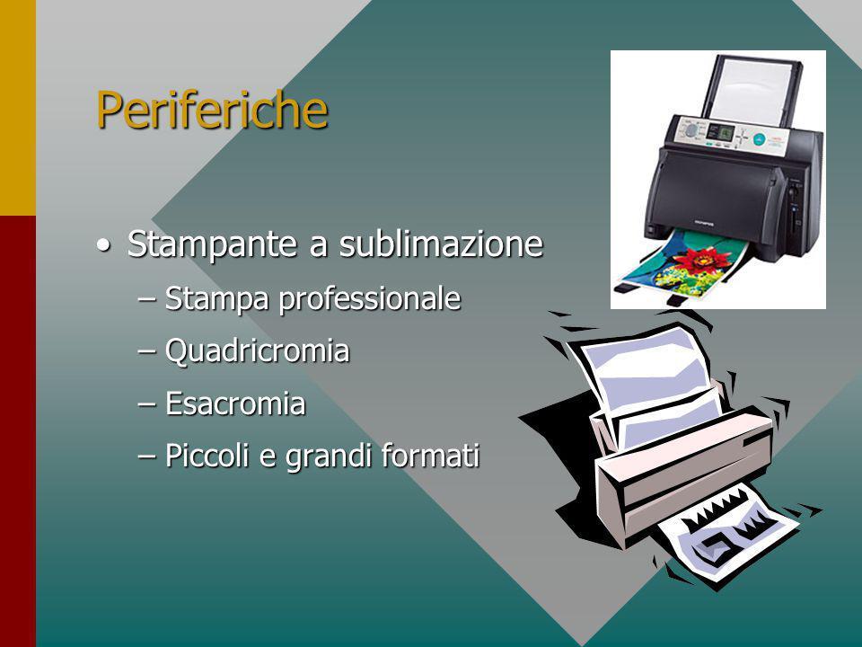 Periferiche Stampante a getto d'inchiostro (ink jet)Stampante a getto d'inchiostro (ink jet) –Stampa di qualità –Quadricromia –Esacromia –Piccoli e grandi formati