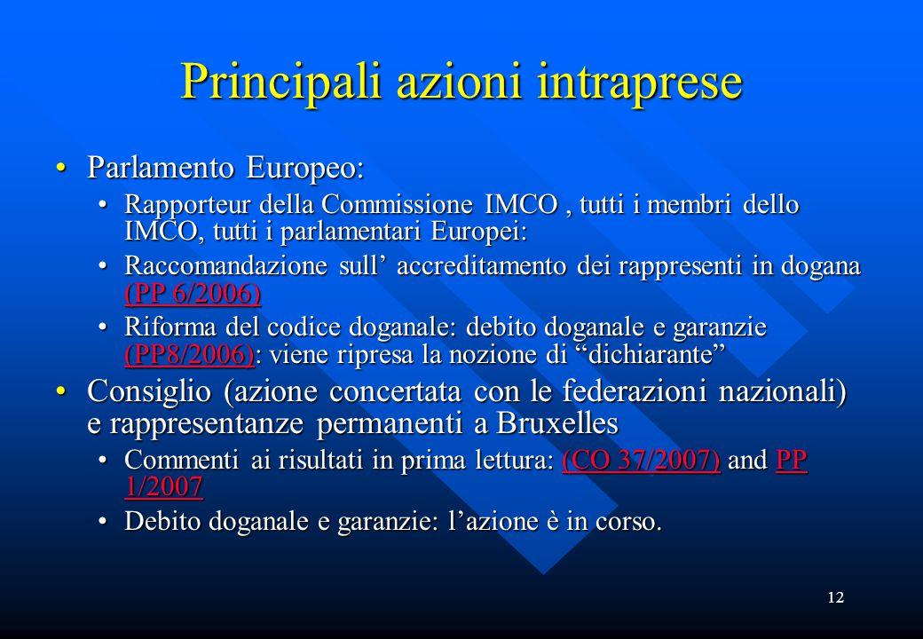 12 Principali azioni intraprese Parlamento Europeo:Parlamento Europeo: Rapporteur della Commissione IMCO, tutti i membri dello IMCO, tutti i parlamentari Europei:Rapporteur della Commissione IMCO, tutti i membri dello IMCO, tutti i parlamentari Europei: Raccomandazione sull' accreditamento dei rappresenti in dogana (PP 6/2006)Raccomandazione sull' accreditamento dei rappresenti in dogana (PP 6/2006) (PP 6/2006) (PP 6/2006) Riforma del codice doganale: debito doganale e garanzie (PP8/2006): viene ripresa la nozione di dichiarante Riforma del codice doganale: debito doganale e garanzie (PP8/2006): viene ripresa la nozione di dichiarante (PP8/2006) Consiglio (azione concertata con le federazioni nazionali) e rappresentanze permanenti a BruxellesConsiglio (azione concertata con le federazioni nazionali) e rappresentanze permanenti a Bruxelles Commenti ai risultati in prima lettura: (CO 37/2007) and PP 1/2007Commenti ai risultati in prima lettura: (CO 37/2007) and PP 1/2007(CO 37/2007)PP 1/2007(CO 37/2007)PP 1/2007 Debito doganale e garanzie: l'azione è in corso.Debito doganale e garanzie: l'azione è in corso.