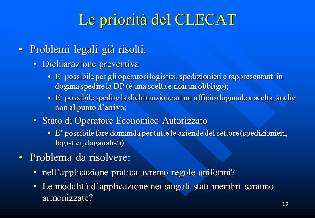 15 Le priorità del CLECAT Problemi legali già risolti:Problemi legali già risolti: Dichiarazione preventivaDichiarazione preventiva E' possibile per g