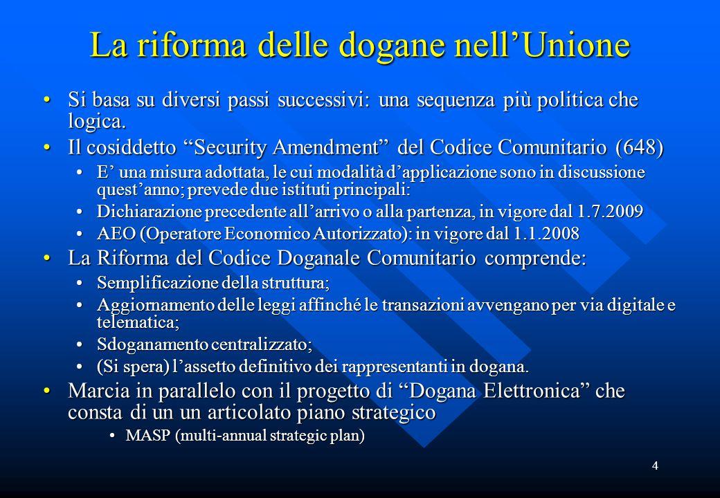 4 La riforma delle dogane nell'Unione Si basa su diversi passi successivi: una sequenza più politica che logica.Si basa su diversi passi successivi: una sequenza più politica che logica.