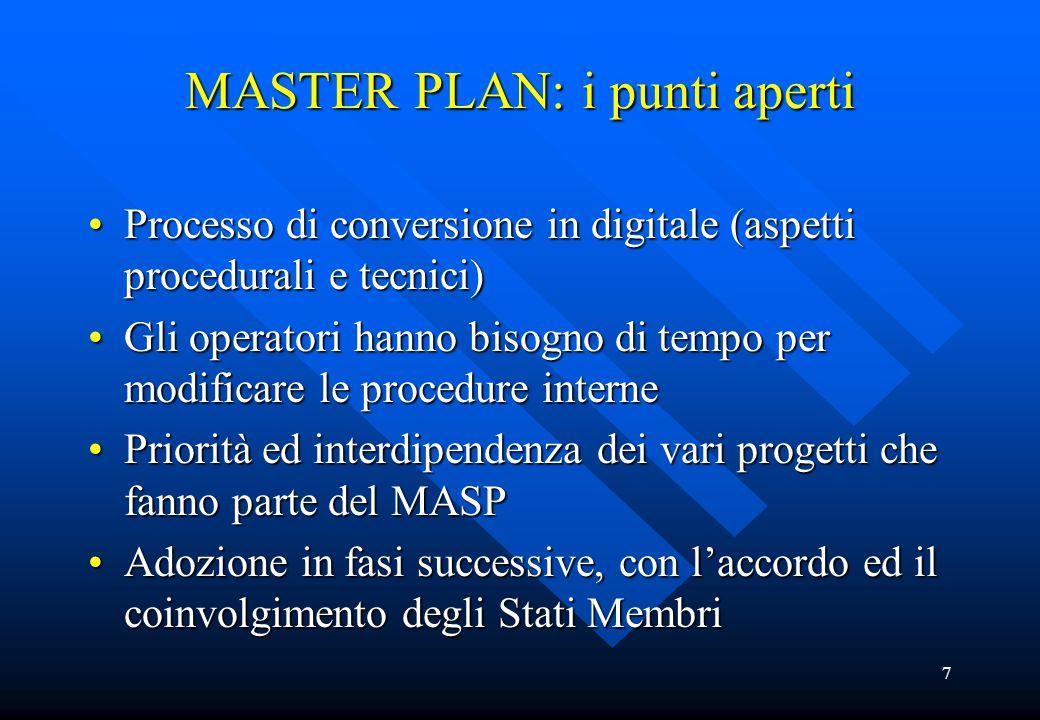 7 MASTER PLAN: i punti aperti Processo di conversione in digitale (aspetti procedurali e tecnici)Processo di conversione in digitale (aspetti procedur