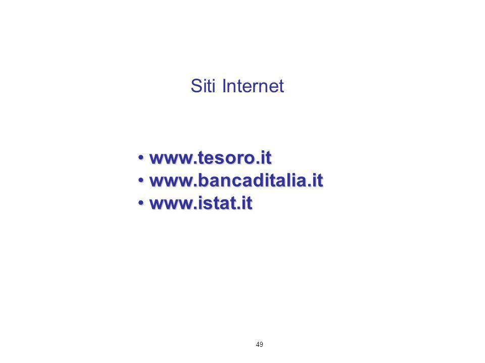 49 www.tesoro.it www.tesoro.it www.bancaditalia.it www.bancaditalia.it www.istat.it www.istat.it Siti Internet