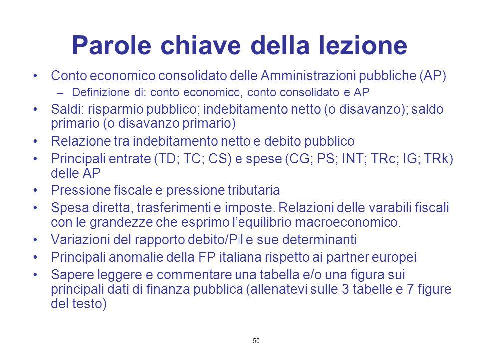 50 Parole chiave della lezione Conto economico consolidato delle Amministrazioni pubbliche (AP) –Definizione di: conto economico, conto consolidato e