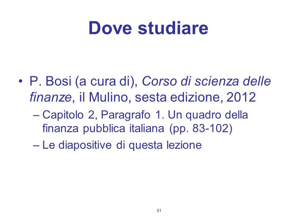 51 Dove studiare P. Bosi (a cura di), Corso di scienza delle finanze, il Mulino, sesta edizione, 2012 –Capitolo 2, Paragrafo 1. Un quadro della finanz