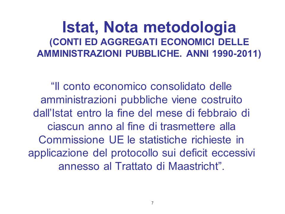"""7 Istat, Nota metodologia (CONTI ED AGGREGATI ECONOMICI DELLE AMMINISTRAZIONI PUBBLICHE. ANNI 1990-2011) """"Il conto economico consolidato delle amminis"""