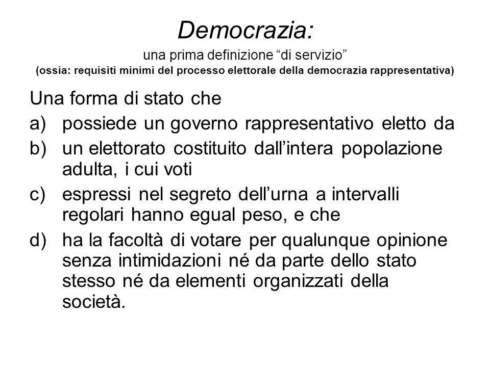 """Democrazia: una prima definizione """"di servizio"""" (ossia: requisiti minimi del processo elettorale della democrazia rappresentativa) Una forma di stato"""