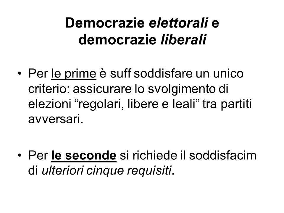 """Democrazie elettorali e democrazie liberali Per le prime è suff soddisfare un unico criterio: assicurare lo svolgimento di elezioni """"regolari, libere"""