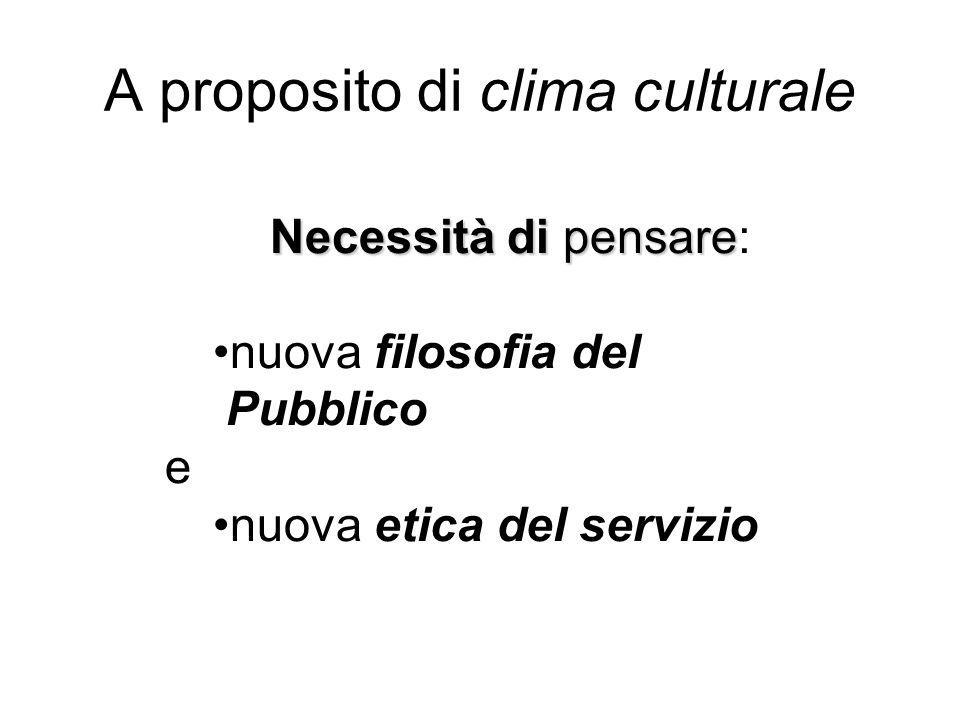 Necessità di pensare Necessità di pensare: nuova filosofia del Pubblico e nuova etica del servizio A proposito di clima culturale