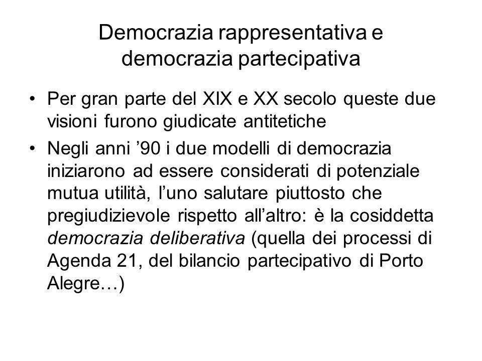 Democrazia rappresentativa e democrazia partecipativa Per gran parte del XIX e XX secolo queste due visioni furono giudicate antitetiche Negli anni '9