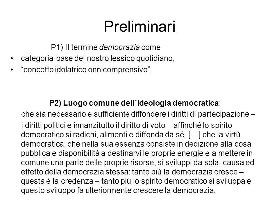 """Preliminari P1) Il termine democrazia come categoria-base del nostro lessico quotidiano, """"concetto idolatrico onnicomprensivo"""". P2) Luogo comune dell'"""