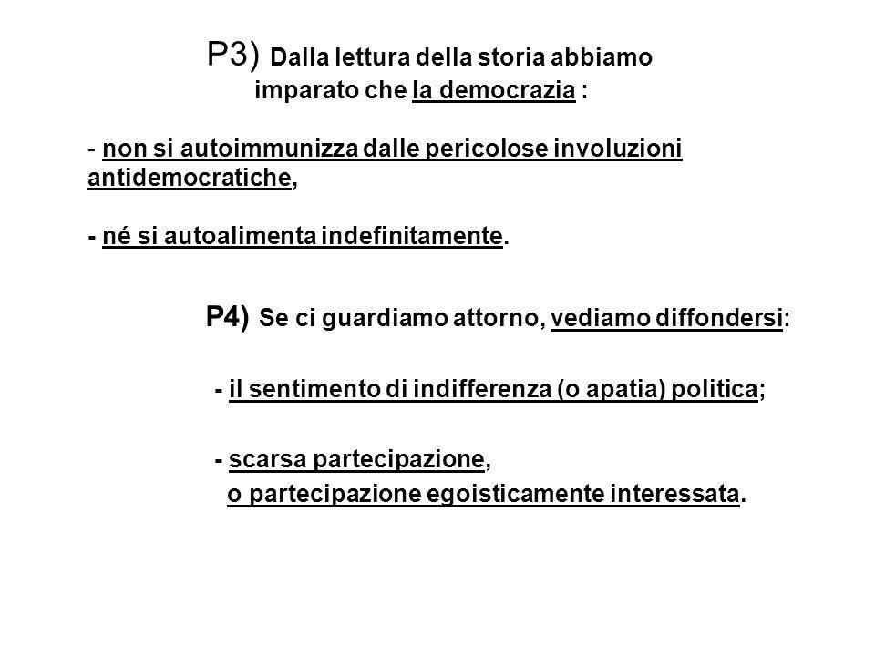 P3) Dalla lettura della storia abbiamo imparato che la democrazia : - non si autoimmunizza dalle pericolose involuzioni antidemocratiche, - né si auto