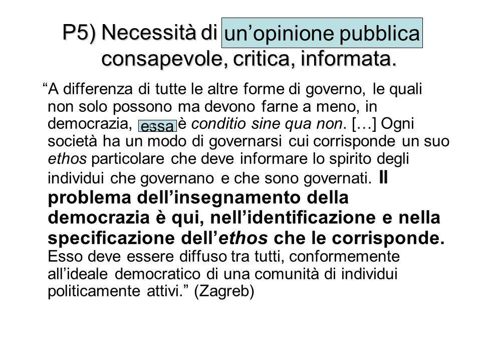 """P5) Necessità di un'opinione pubblica consapevole, critica, informata. """"A differenza di tutte le altre forme di governo, le quali non solo possono ma"""