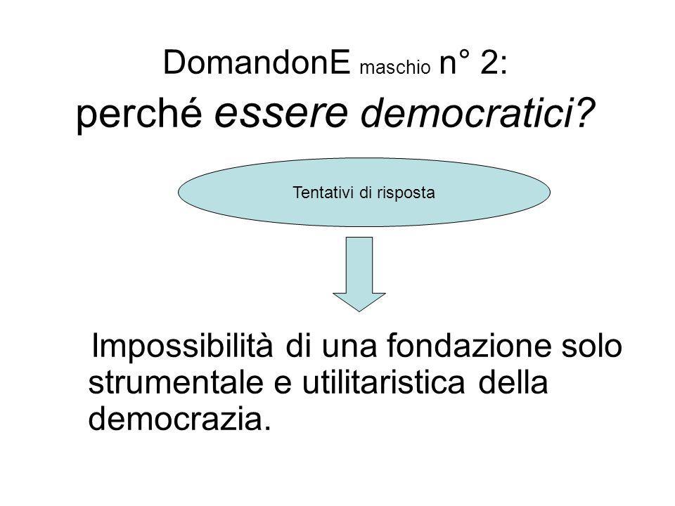 DomandonE maschio n° 2: perché essere democratici? Impossibilità di una fondazione solo strumentale e utilitaristica della democrazia. Tentativi di ri