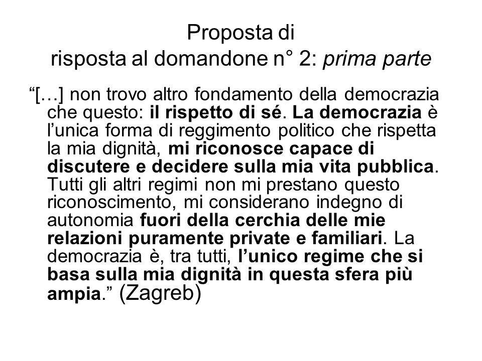 """Proposta di risposta al domandone n° 2: prima parte """"[…] non trovo altro fondamento della democrazia che questo: il rispetto di sé. La democrazia è l'"""