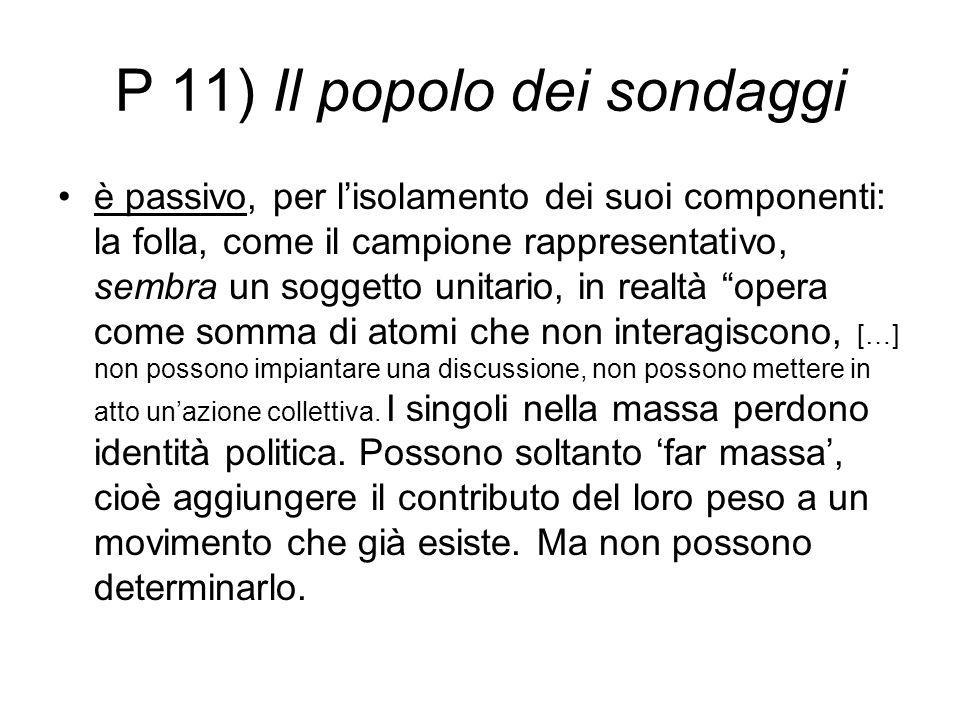 P 11) Il popolo dei sondaggi è passivo, per l'isolamento dei suoi componenti: la folla, come il campione rappresentativo, sembra un soggetto unitario,