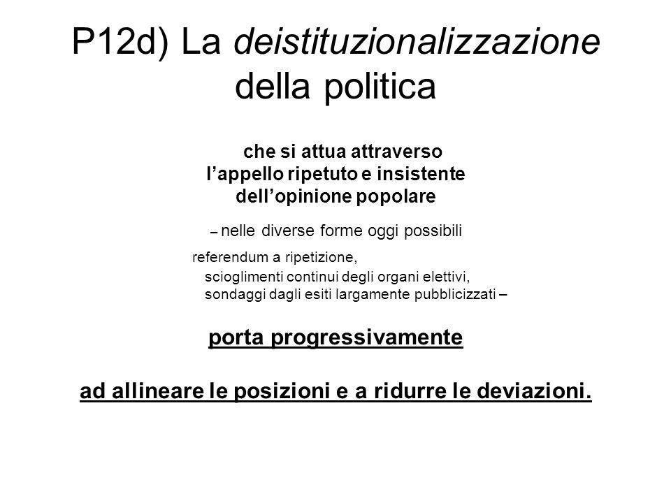 P12d) La deistituzionalizzazione della politica che si attua attraverso l'appello ripetuto e insistente dell'opinione popolare – nelle diverse forme o