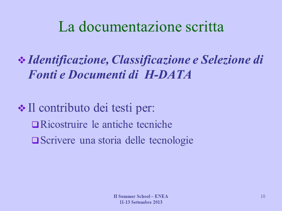 II Summer School – ENEA 11-13 Settembre 2013 10 La documentazione scritta  Identificazione, Classificazione e Selezione di Fonti e Documenti di H-DAT
