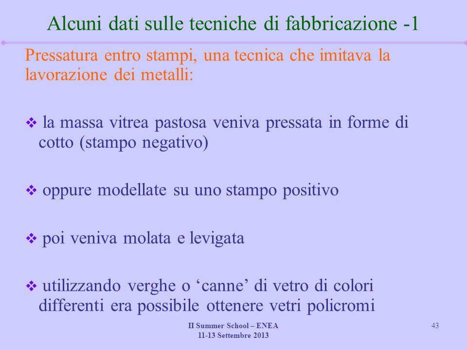 II Summer School – ENEA 11-13 Settembre 2013 43 Alcuni dati sulle tecniche di fabbricazione -1 Pressatura entro stampi, una tecnica che imitava la lav