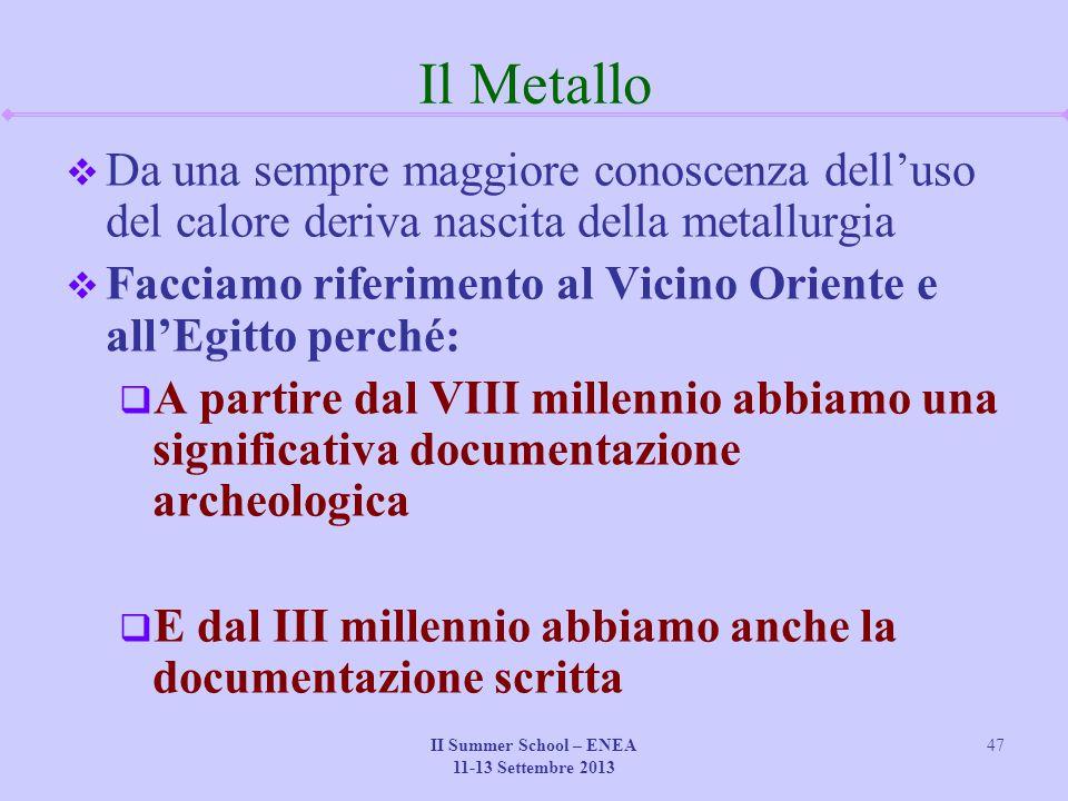 II Summer School – ENEA 11-13 Settembre 2013 47 Il Metallo  Da una sempre maggiore conoscenza dell'uso del calore deriva nascita della metallurgia 