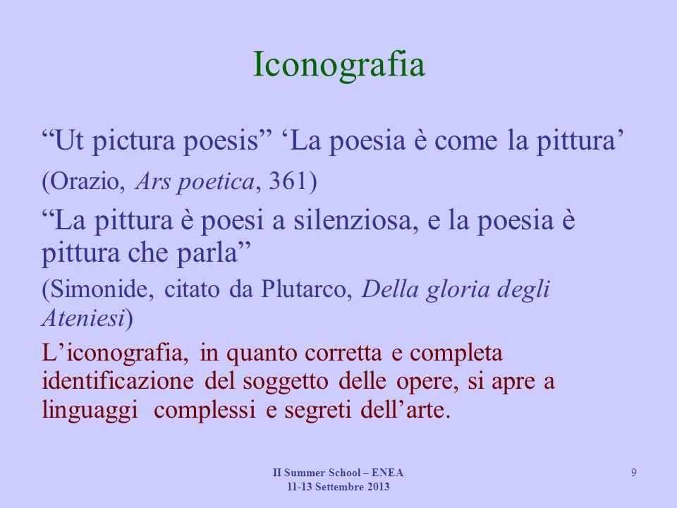 """II Summer School – ENEA 11-13 Settembre 2013 9 Iconografia """"Ut pictura poesis"""" 'La poesia è come la pittura' (Orazio, Ars poetica, 361) """"La pittura è"""