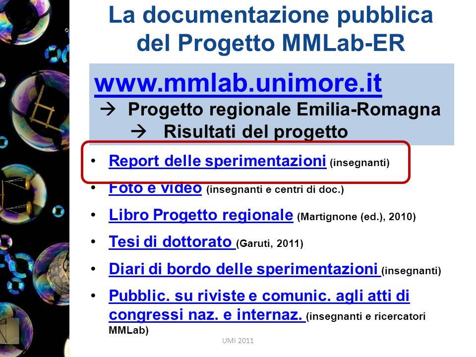 www.mmlab.unimore.it  Progetto regionale Emilia-Romagna  Risultati del progetto Report delle sperimentazioni (insegnanti)Report delle sperimentazion