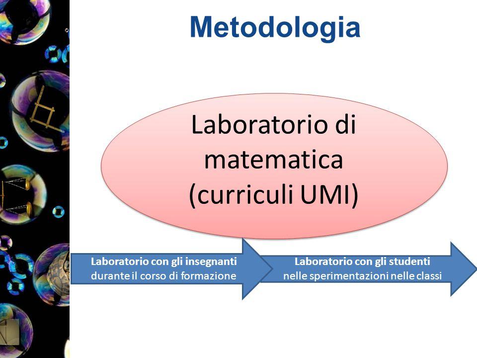 Metodologia Laboratorio di matematica (curriculi UMI) Laboratorio di matematica (curriculi UMI) Laboratorio con gli studenti nelle sperimentazioni nelle classi Laboratorio con gli insegnanti durante il corso di formazione