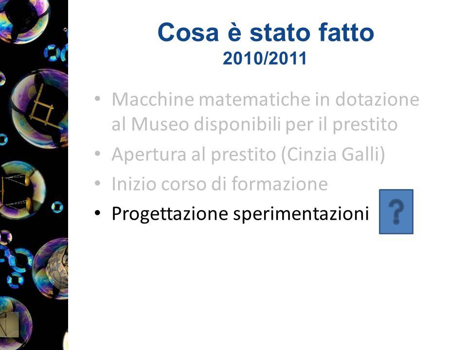 Cosa è stato fatto 2010/2011 Macchine matematiche in dotazione al Museo disponibili per il prestito Apertura al prestito (Cinzia Galli) Inizio corso di formazione Progettazione sperimentazioni