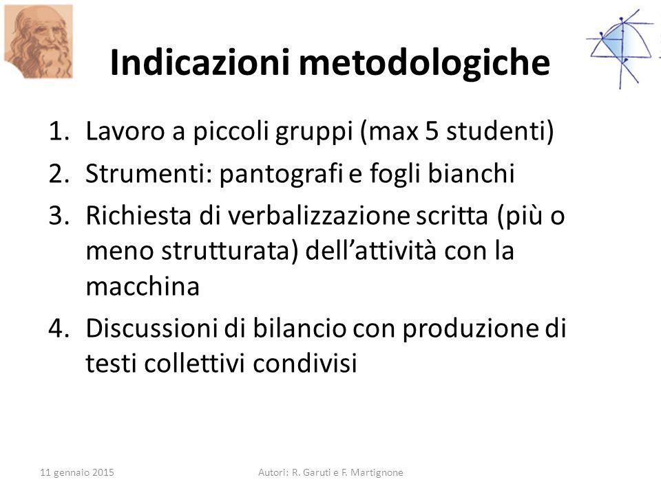 Indicazioni metodologiche 1.Lavoro a piccoli gruppi (max 5 studenti) 2.Strumenti: pantografi e fogli bianchi 3.Richiesta di verbalizzazione scritta (p