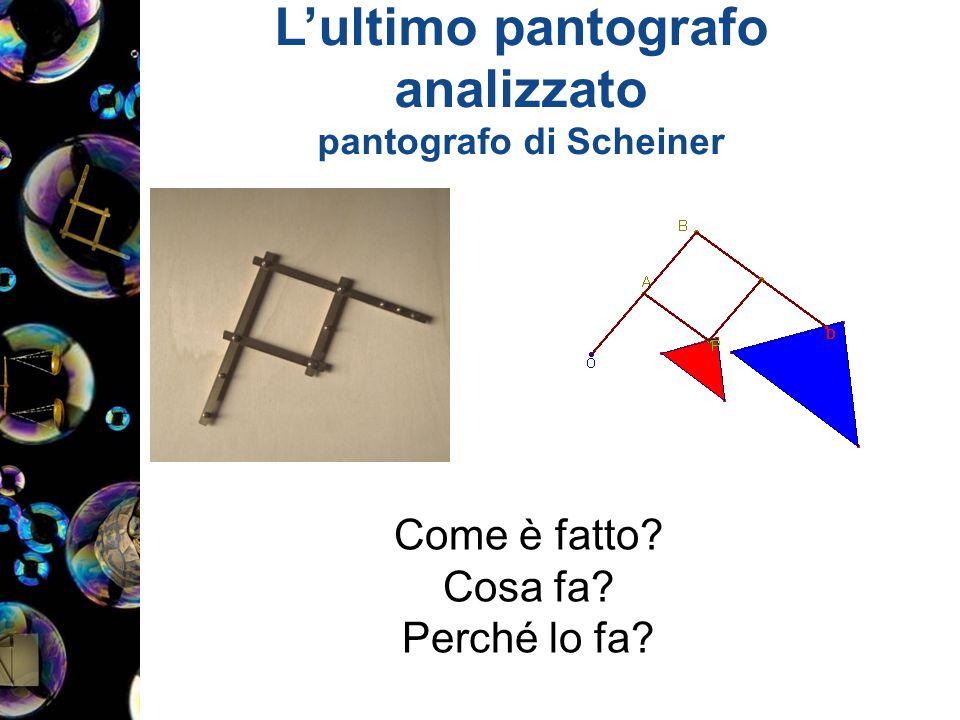 L'ultimo pantografo analizzato pantografo di Scheiner Come è fatto? Cosa fa? Perché lo fa?