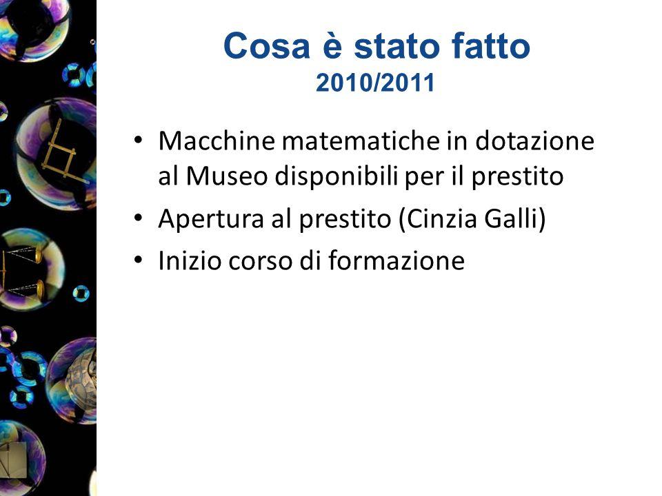 Cosa è stato fatto 2010/2011 Macchine matematiche in dotazione al Museo disponibili per il prestito Apertura al prestito (Cinzia Galli) Inizio corso di formazione