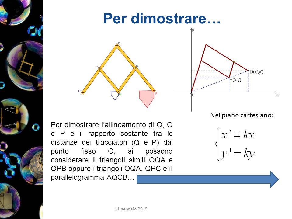 Per dimostrare… 11 gennaio 2015 41 Nel piano cartesiano: Per dimostrare l'allineamento di O, Q e P e il rapporto costante tra le distanze dei tracciatori (Q e P) dal punto fisso O, si possono considerare il triangoli simili OQA e OPB oppure i triangoli OQA, QPC e il parallelogramma AQCB…