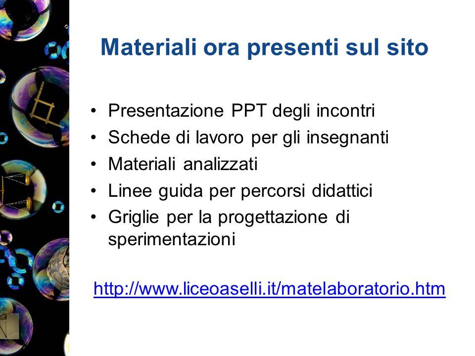 Materiali ora presenti sul sito Presentazione PPT degli incontri Schede di lavoro per gli insegnanti Materiali analizzati Linee guida per percorsi did