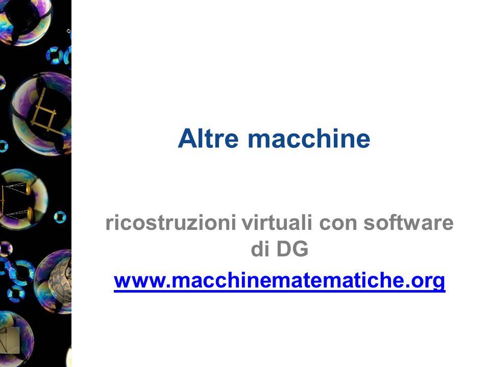 Altre macchine ricostruzioni virtuali con software di DG www.macchinematematiche.org