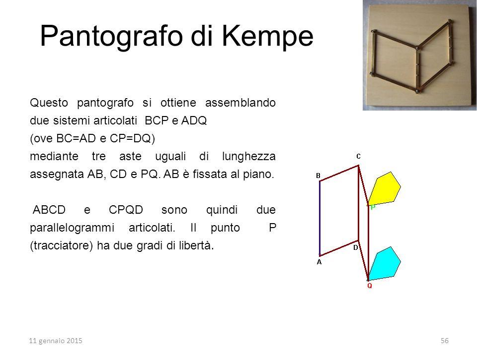 Questo pantografo si ottiene assemblando due sistemi articolati BCP e ADQ (ove BC=AD e CP=DQ) mediante tre aste uguali di lunghezza assegnata AB, CD e