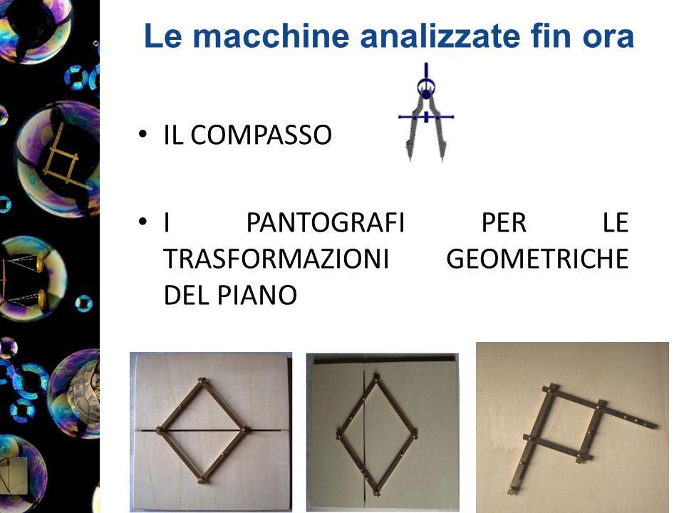 Le macchine analizzate fin ora IL COMPASSO I PANTOGRAFI PER LE TRASFORMAZIONI GEOMETRICHE DEL PIANO