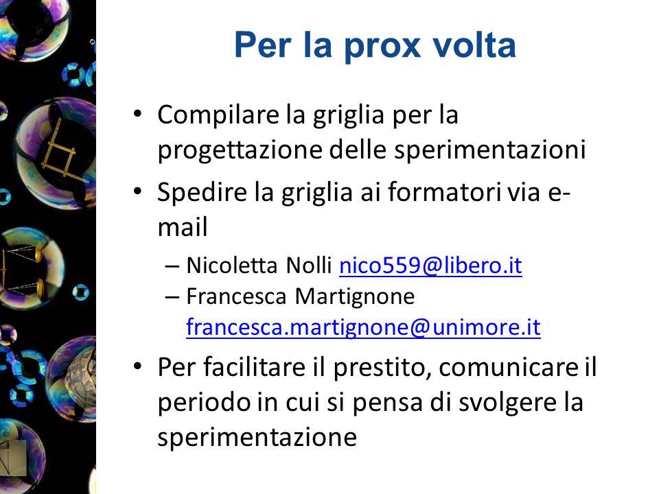 Per la prox volta Compilare la griglia per la progettazione delle sperimentazioni Spedire la griglia ai formatori via e- mail – Nicoletta Nolli nico55