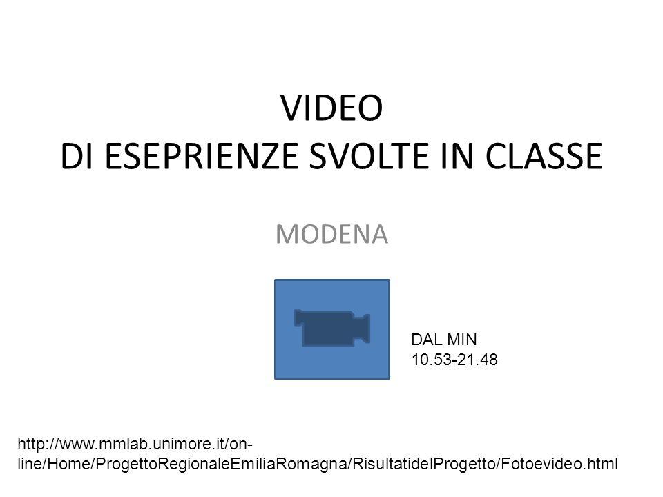 VIDEO DI ESEPRIENZE SVOLTE IN CLASSE MODENA http://www.mmlab.unimore.it/on- line/Home/ProgettoRegionaleEmiliaRomagna/RisultatidelProgetto/Fotoevideo.html DAL MIN 10.53-21.48
