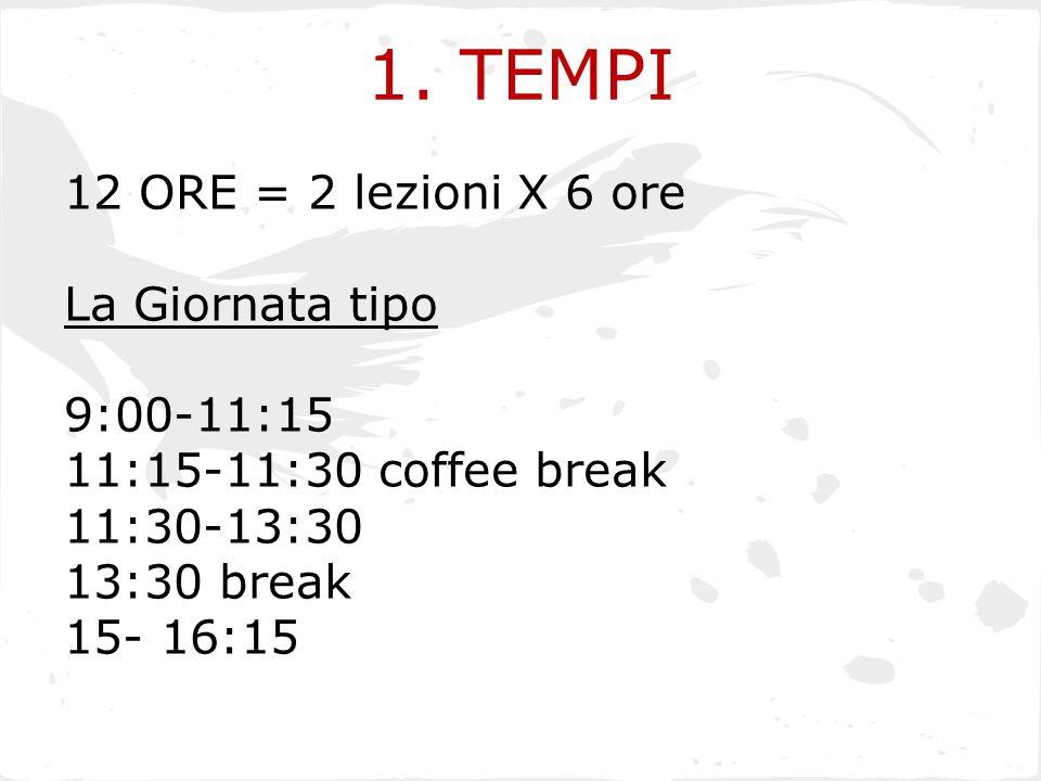 1. TEMPI 12 ORE = 2 lezioni X 6 ore La Giornata tipo 9:00-11:15 11:15-11:30 coffee break 11:30-13:30 13:30 break 15- 16:15