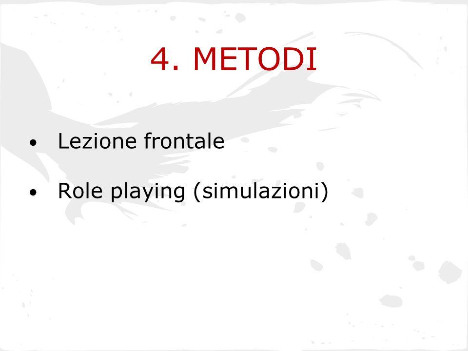 4. METODI Lezione frontale Role playing (simulazioni)