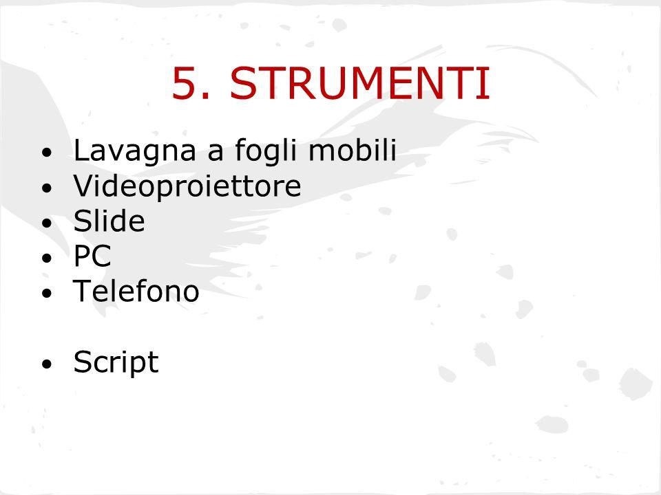 5. STRUMENTI Lavagna a fogli mobili Videoproiettore Slide PC Telefono Script
