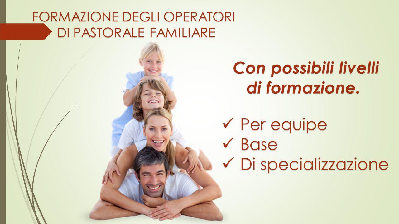 FORMAZIONE DEGLI OPERATORI DI PASTORALE FAMILIARE Con possibili livelli di formazione.