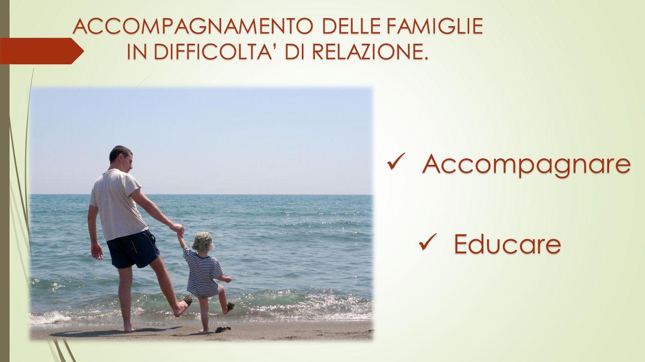 ACCOMPAGNAMENTO DELLE FAMIGLIE IN DIFFICOLTA' DI RELAZIONE. Accompagnare Accompagnare Educare Educare