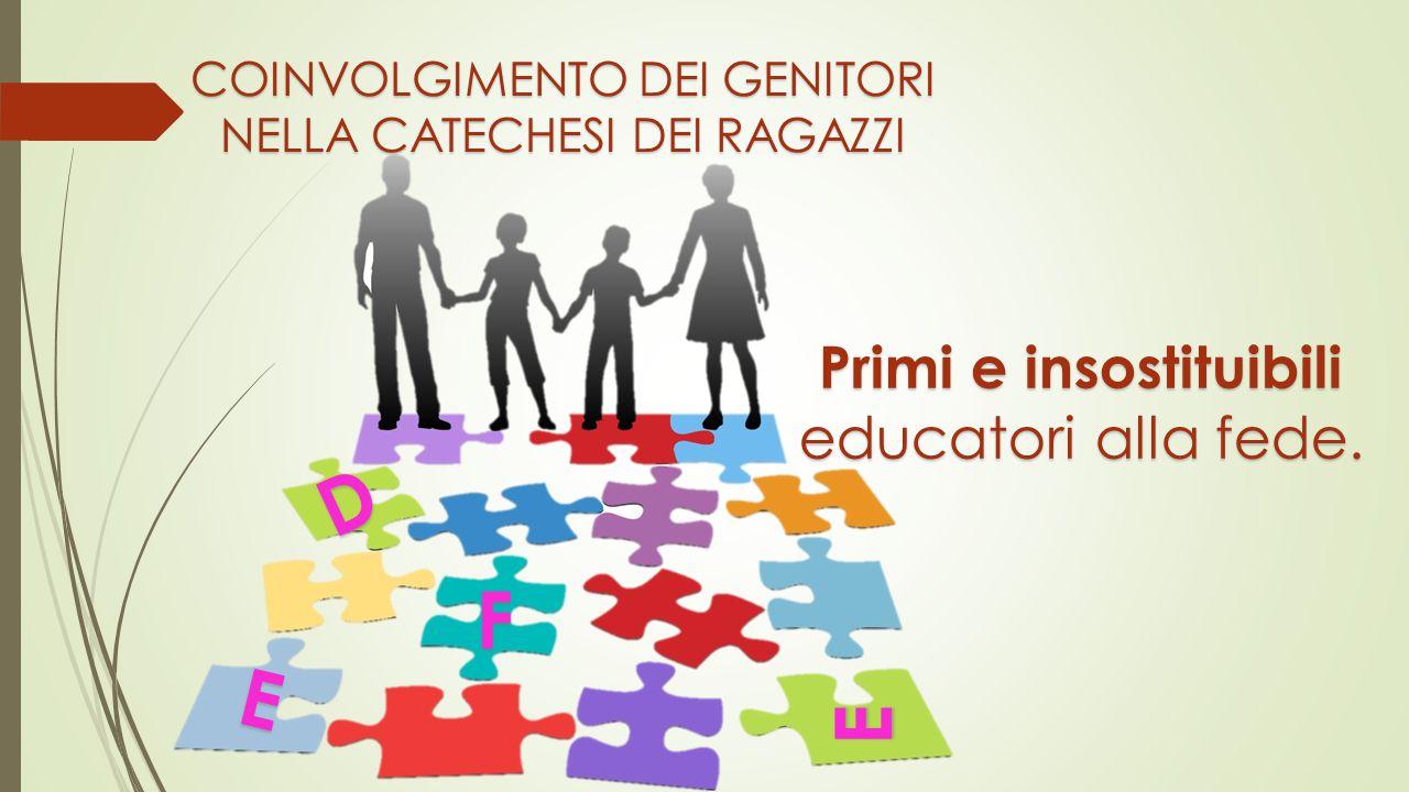 COINVOLGIMENTO DEI GENITORI NELLA CATECHESI DEI RAGAZZI F E D E Primi e insostituibili educatori alla fede.