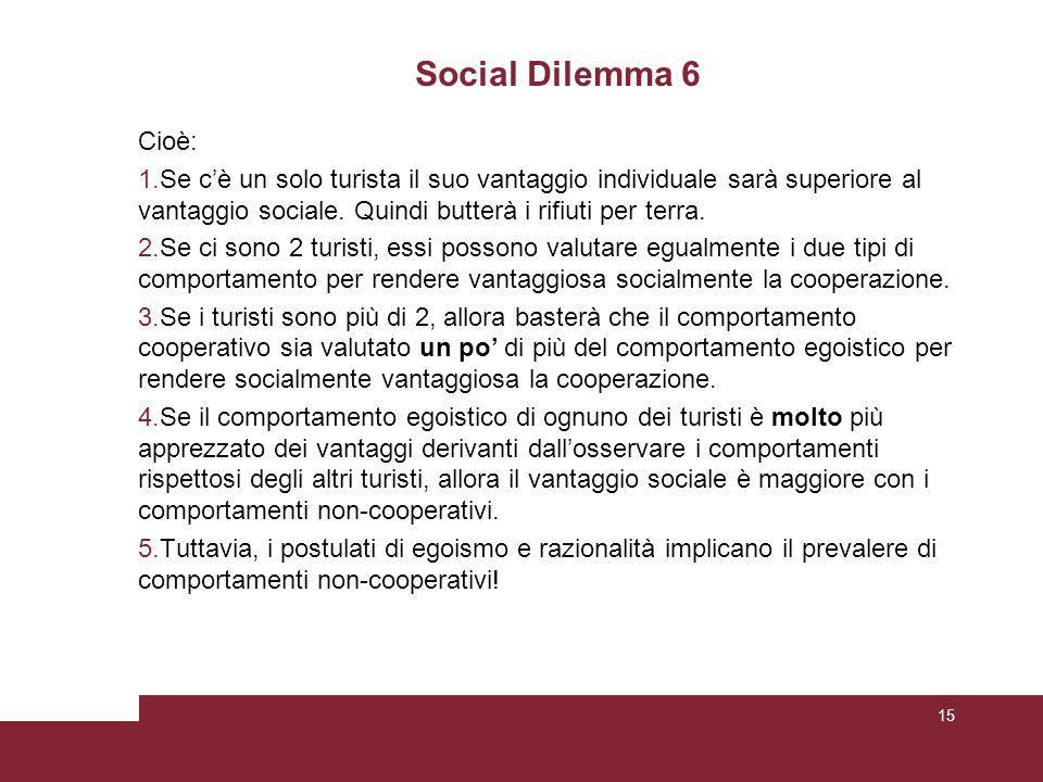 Social Dilemma 6 Cioè: 1.Se c'è un solo turista il suo vantaggio individuale sarà superiore al vantaggio sociale.
