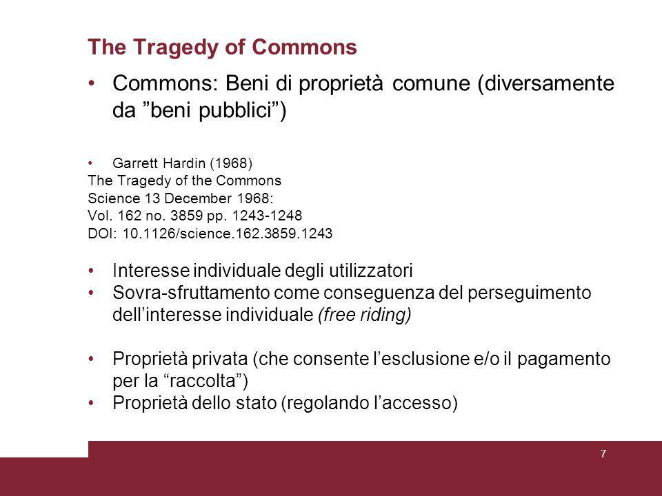 Illustrative theoretical scenario 3 Il gruppo è piccolo e ognuno è economicamente simile agli altri.