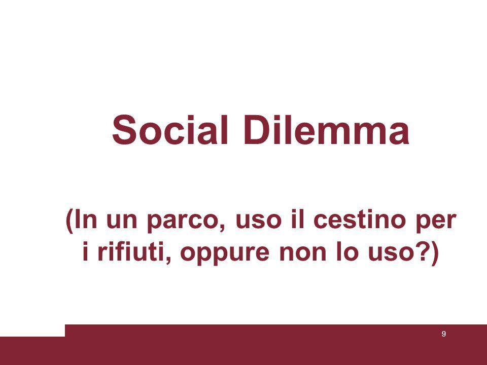 Social Dilemma (In un parco, uso il cestino per i rifiuti, oppure non lo uso ) 9
