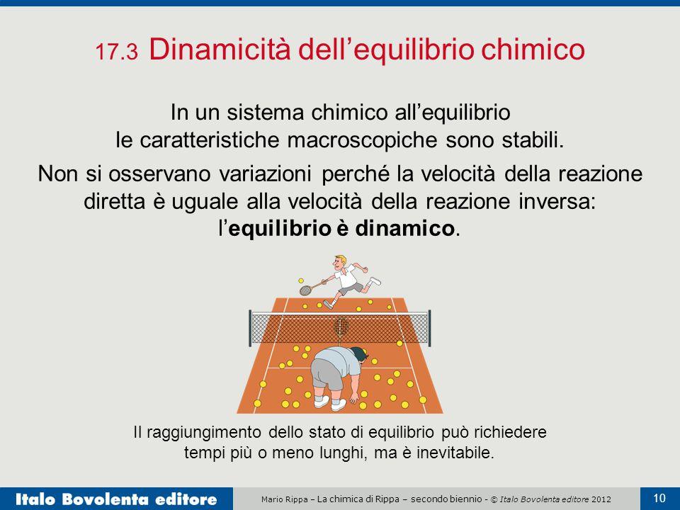 Mario Rippa – La chimica di Rippa – secondo biennio - © Italo Bovolenta editore 2012 10 17.3 Dinamicità dell'equilibrio chimico In un sistema chimico all'equilibrio le caratteristiche macroscopiche sono stabili.