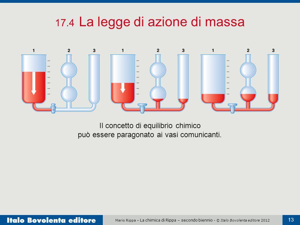Mario Rippa – La chimica di Rippa – secondo biennio - © Italo Bovolenta editore 2012 13 17.4 La legge di azione di massa Il concetto di equilibrio chimico può essere paragonato ai vasi comunicanti.